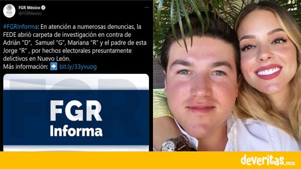 Investiga FGR a Samuel García candidato a gobernador de Nuevo León y a su esposa Mariana Rodríguez por delitos electorales